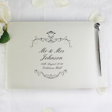 Personalised Black Ornate Swirl Guest Book & Pen